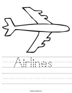 Airlines  Handwriting Sheet