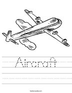 Aircraft Handwriting Sheet