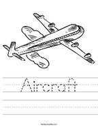 Aircraft Handwriting Sheet