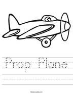Prop Plane Handwriting Sheet