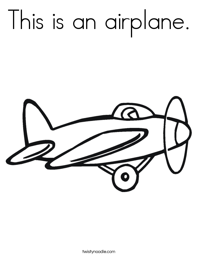 This is an airplane. Coloring Page