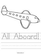 All Aboard Handwriting Sheet