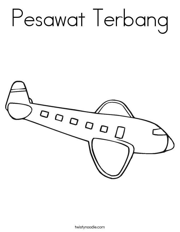Pesawat Terbang Coloring Page
