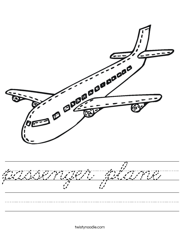 passenger plane Worksheet