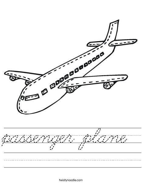 Passenger Airplane Worksheet