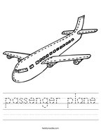 passenger plane Handwriting Sheet
