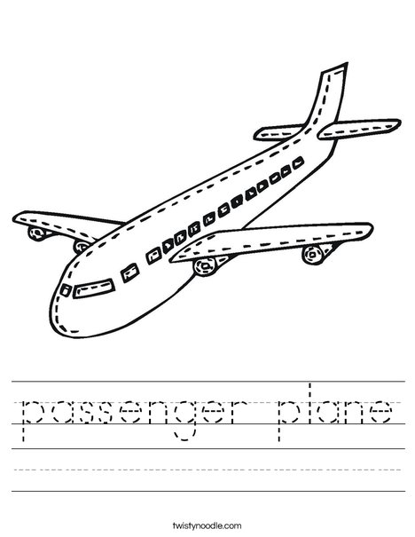 Passenger Airplane Worksheet