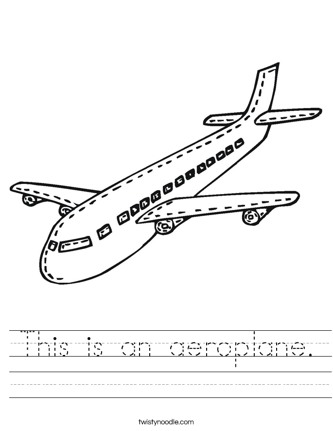 This is an aeroplane. Worksheet