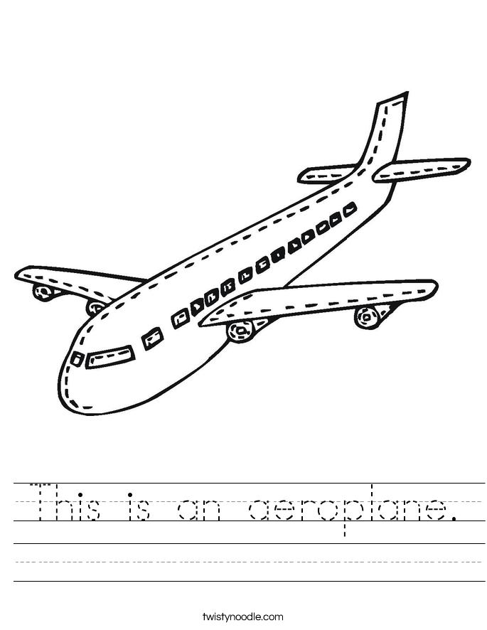 This is an aeroplane. Worksheet