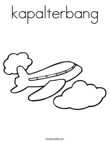 Airplane in the Clouds Coloring Page