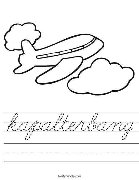 Airplane in the Clouds Worksheet