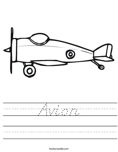 Small Airplane Worksheet