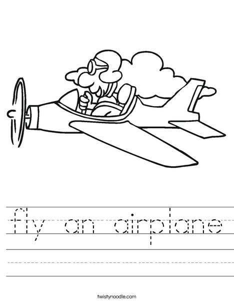 Airplane with Pilot Worksheet