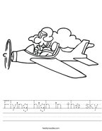 Flying high in the sky Handwriting Sheet