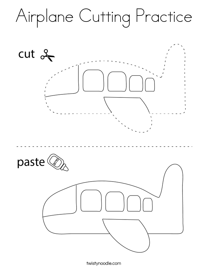 Airplane Cutting Practice Coloring Page