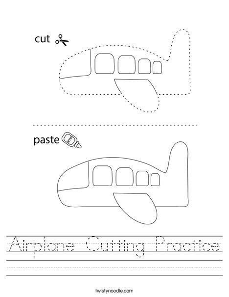 Airplane Cutting Practice Worksheet