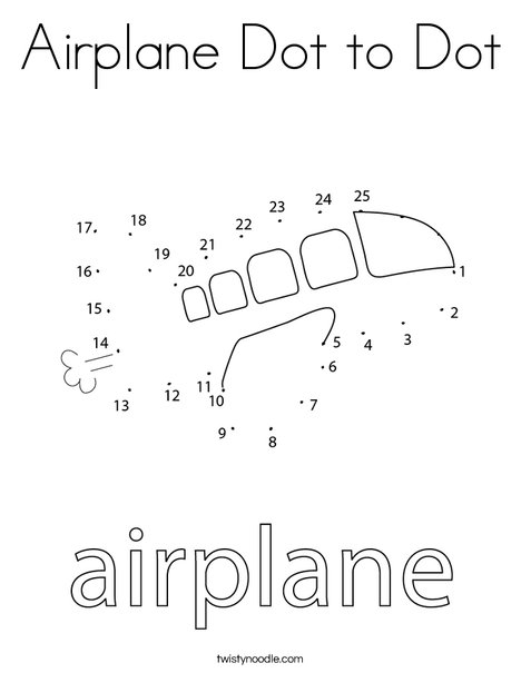 Airplane Dot to Dot Coloring Page