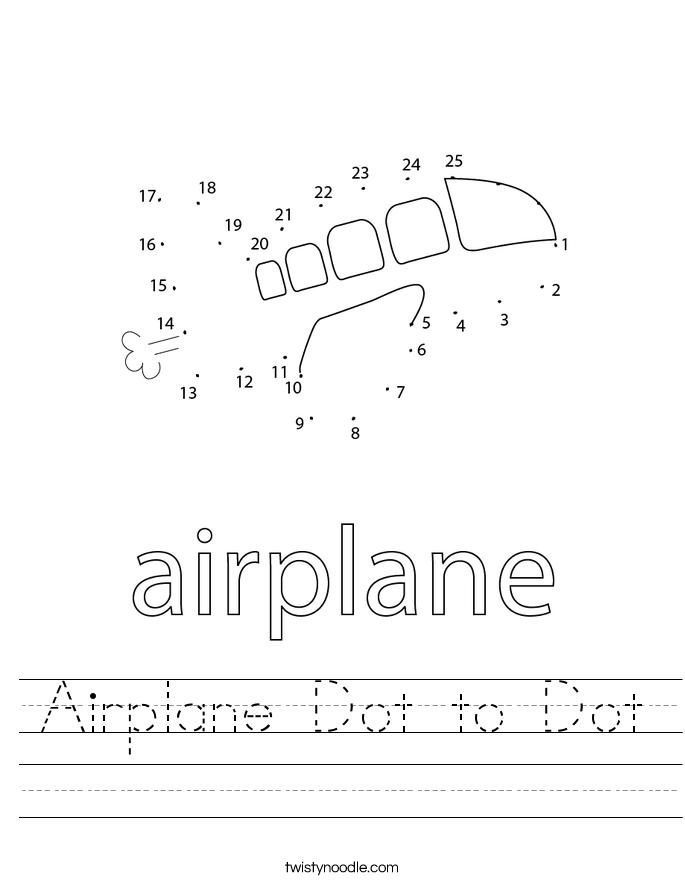 Airplane Dot to Dot Worksheet