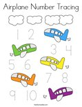 Airplane Number Tracing Coloring Page