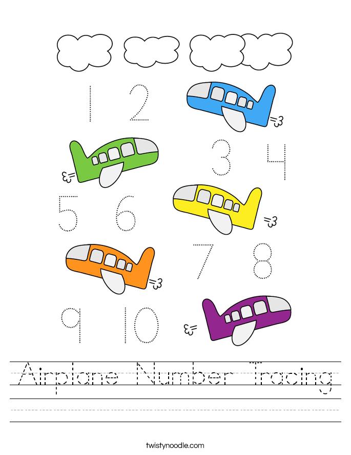 Airplane Number Tracing Worksheet