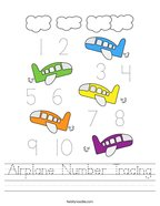 Airplane Number Tracing Handwriting Sheet