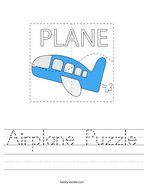 Airplane Puzzle Handwriting Sheet