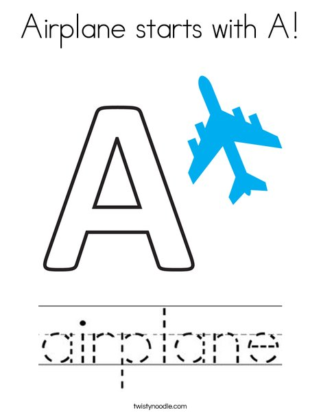 Airplane starts with A! Coloring Page