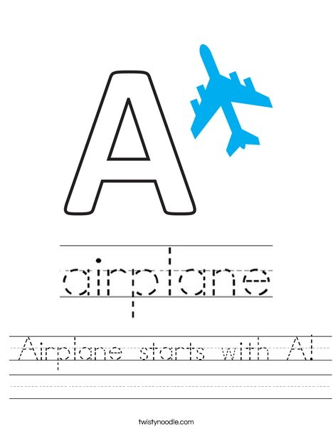 Airplane starts with A! Worksheet