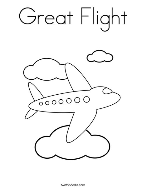 flying coloring pages Great Flight Coloring Page   Twisty Noodle flying coloring pages