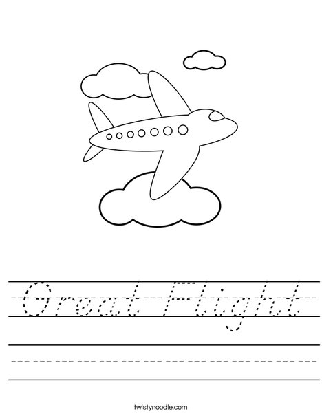 Airplane Flying in the Clouds Worksheet