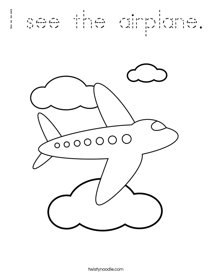 I see the airplane. Coloring Page