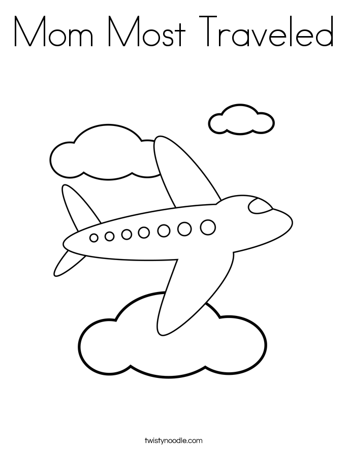 Mom Most Traveled Coloring Page
