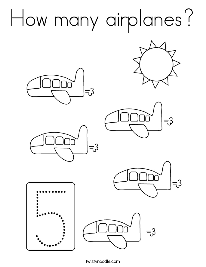 How many airplanes? Coloring Page