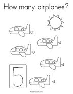 How many airplanes Coloring Page