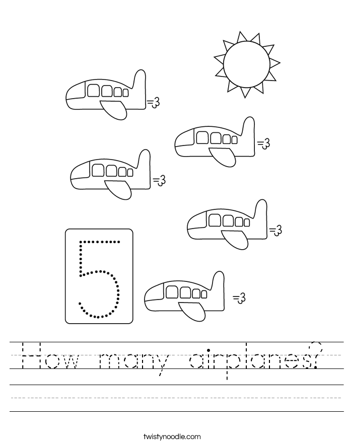How many airplanes? Worksheet