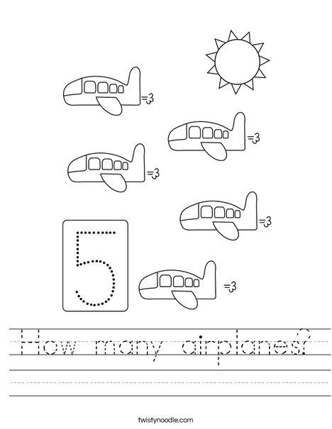 Four Airplanes Worksheet