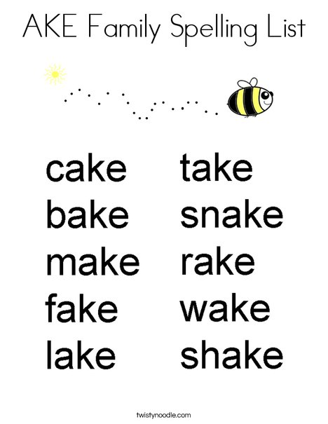 AKE Family Spelling List Coloring Page