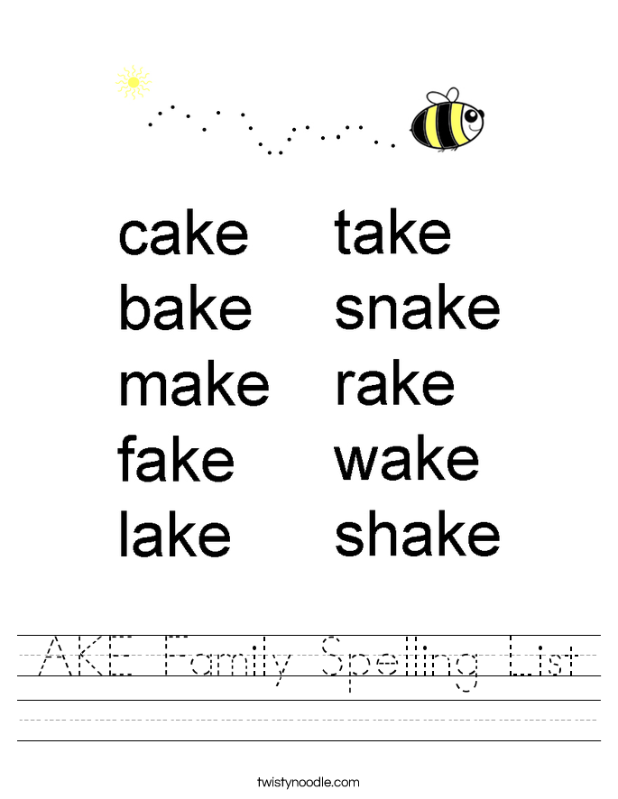 AKE Family Spelling List Worksheet