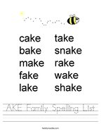 AKE Family Spelling List Handwriting Sheet