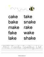 AKE Family Spelling List Handwriting Sheet