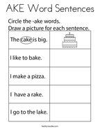 AKE Word Sentences Coloring Page