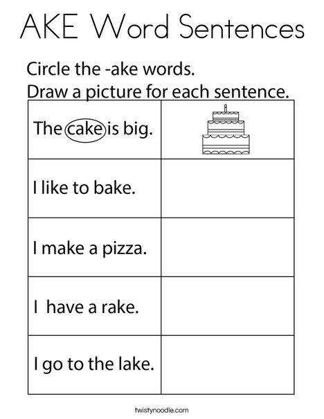 AKE Word Sentences Coloring Page