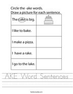 AKE Word Sentences Handwriting Sheet
