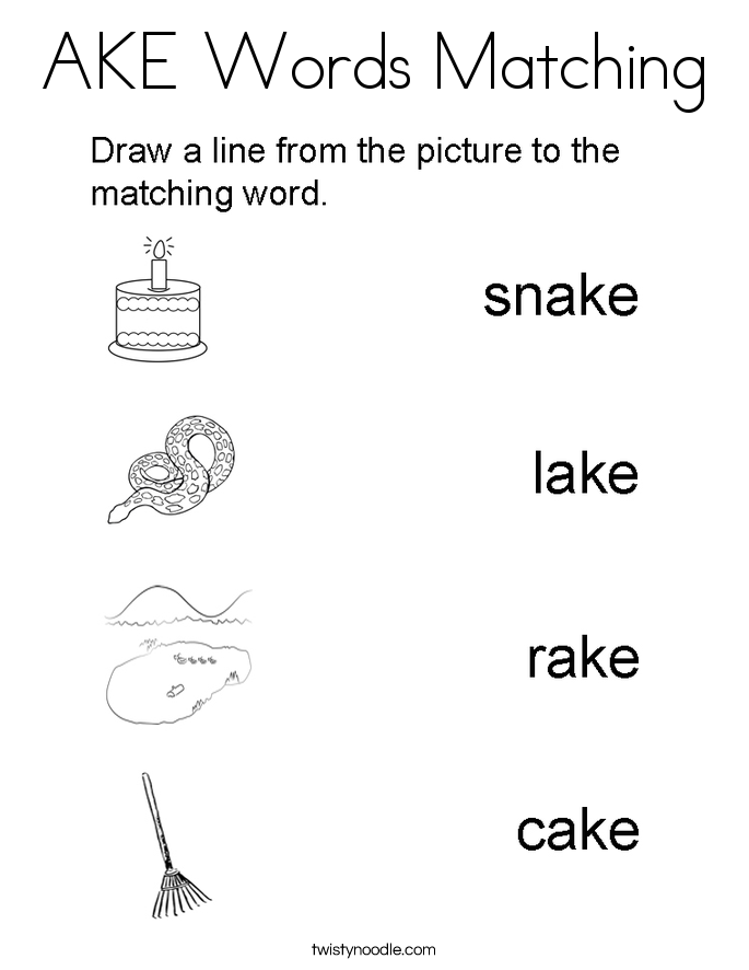 AKE Words Matching Coloring Page
