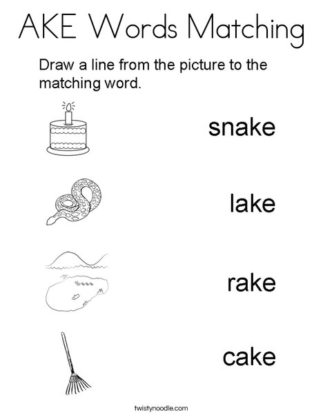 AKE Words Matching Coloring Page
