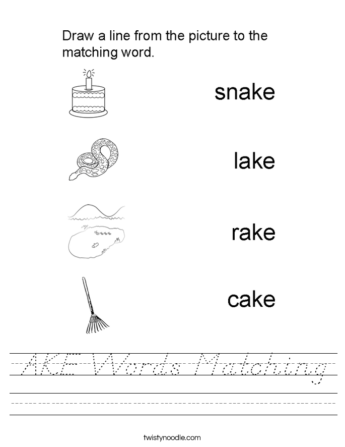 AKE Words Matching Worksheet