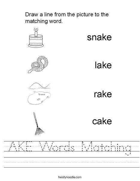 AKE Words Matching Worksheet