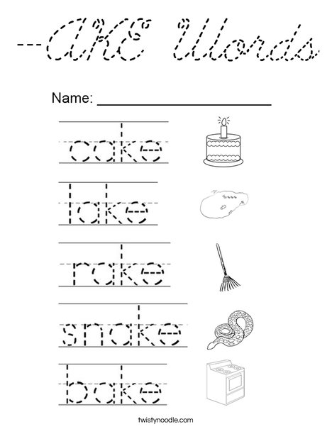 -AKE Words Coloring Page