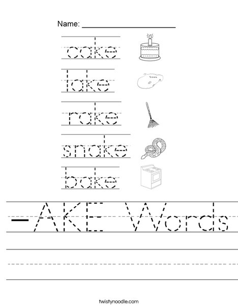 Ake Words Worksheet Twisty Noodle