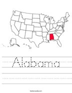Alabama Handwriting Sheet
